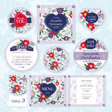 Set of floral wedding cards Royalty Free Stock Photography