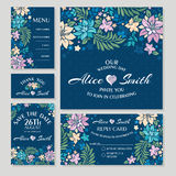 Set of floral wedding cards Stock Image