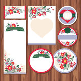 Set of floral wedding cards Stock Photography