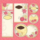 Set of floral wedding cards Stock Images