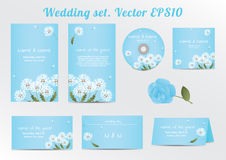 Set of floral wedding invitation template with Royalty Free Stock Photo