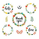 Set of Floral wreath with cute colorful flowers Royalty Free Stock Images