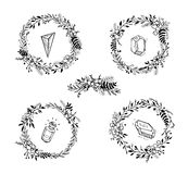 Set of floral wreaths with crystals Royalty Free Stock Photos