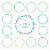 Set of floral wreaths. Green spring wreaths with flowers and leaves Royalty Free Stock Images