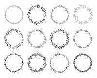 Set of floral wreaths. Royalty Free Stock Photo