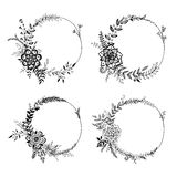 Set of floral wreaths. Stock Photos