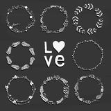 Set with floral wreaths. Template for wedding, mothers day, birt Royalty Free Stock Photography