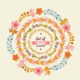 Set of floral wreaths. stock illustration