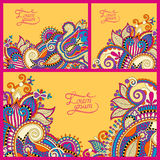 Set of floral yellow background, template frame Stock Images