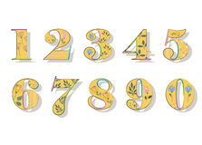 Set of Floral Yellow Numbers Stock Images