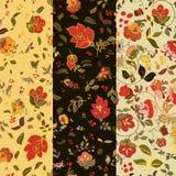 Set of floralseamless patterns. Folk boho style backgrounds Stock Photography