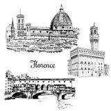 Set of Florence Ponte Vecchio bridge in , Italy. Vector hand drawn sketch. Set of Florence symbols. Duomo Santa maria del fiore, Palazzo Vecchio or Palazzo della Royalty Free Stock Image