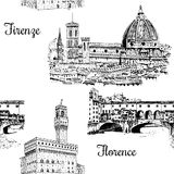 Set of Florence symbols seamless pattern vector set. Duomo Santa maria del fiore, Palazzo Vecchio, Ponte Vecchio bridge. Set of Florence symbols. Duomo Santa Stock Photography