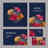Set of floristic elements of corporate identity Stock Photography