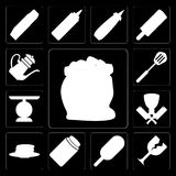 Set of Flour, Glass, Ice cream, Honey, Pancakes, Butcher, Scale,. Set Of 13 simple icons such as Flour, Glass, Ice cream, Honey, Pancakes, Butcher, Scale stock illustration