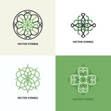 Set of flourish abstract design emblems. royalty free stock images