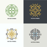 Set of flourish abstract design emblems. stock photography