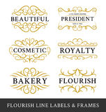 Set of flourish calligraphy frames design for business Royalty Free Stock Photo