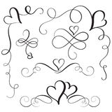 Set of flourish calligraphy vintage hearts. Illustration vector hand drawn EPS 10.  royalty free illustration