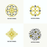 Set of flourish design templates. stock image