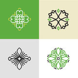 Set of flourish logo design templates. stock photos