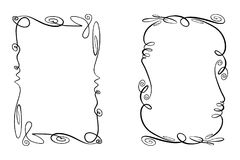 Set of Flourish Vector Frames. Collection of Rectangles with squiggles, twirls and embellishments for image and text. Simple doodle, scribble borders, sketch Stock Photos