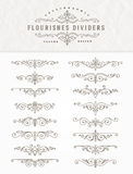 Set of flourishes calligraphic elegant dividers Royalty Free Stock Photo