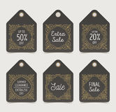 Set of flourishes sale tags or labels. Stock Photography