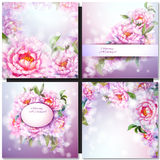 Set of flower backgrounds. Set of oil painted flower backgrounds Royalty Free Stock Photo