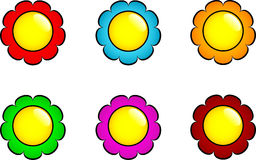 Set of flower buttons Stock Image