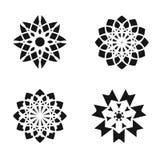 Set of flower design elements. Black icons isolated on white background. Vector illustration vector illustration