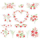 Set of flower design elements. Isolated over white Stock Photo