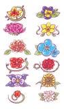 Set of flower designs stock illustration