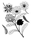 Set of flower doodles flower Stock Photography