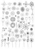 Set of flower doodles Royalty Free Stock Photos