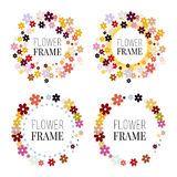 Set of flower frames. Isolated wreaths of colorful flowers for presentations. Vector illustration Royalty Free Stock Photos