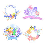Set of flower frames and labels Stock Images
