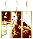 Set of flower gift tags, vector Stock Photo