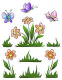 Set of flower grass and butterfly Royalty Free Stock Photos