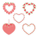 Set of flower hearts Stock Photo