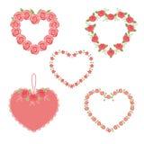 Set of flower hearts Stock Photo