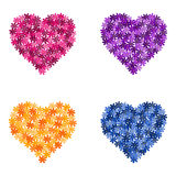 Set of flower hearts,  illustration Stock Photography