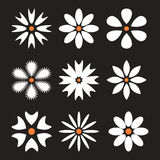 Set of flower icons, flat design. Royalty Free Stock Photos
