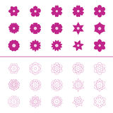 Set of flower icons,  illustration Stock Photo