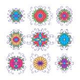 Set of flower icons isolated on white Royalty Free Stock Image