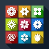 Set of flower icons with long shadow Royalty Free Stock Image