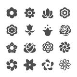 Set of flower icons. Stock Photos