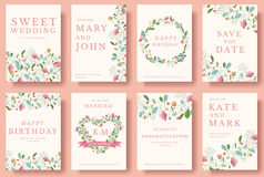 Set of flower invitation cards. colorful greeting wedding invitation card illustration set. Wedding vector design Royalty Free Stock Photo