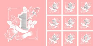 Set of flower numbers. Vector illustration collection of numbers decorated with roses flowers and leaves Royalty Free Stock Photo