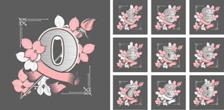 Set of flower numbers. Vector illustration collection of numbers gothic style on black background figures decorated with roses flowers and leaves Stock Image
